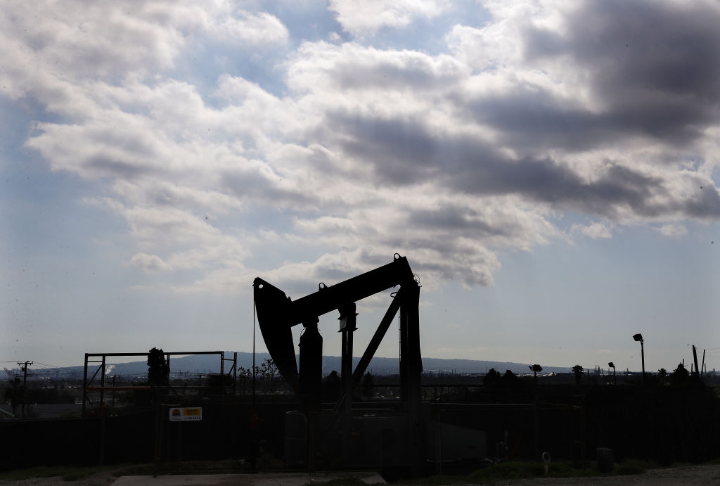 An oil pumpjack stands idle amidst the coronavirus pandemic on April 20, 2020 in Signal Hill, Calif. Oil prices traded in negative territory for the first time as the spread of COVID-19 impacts global demand.
