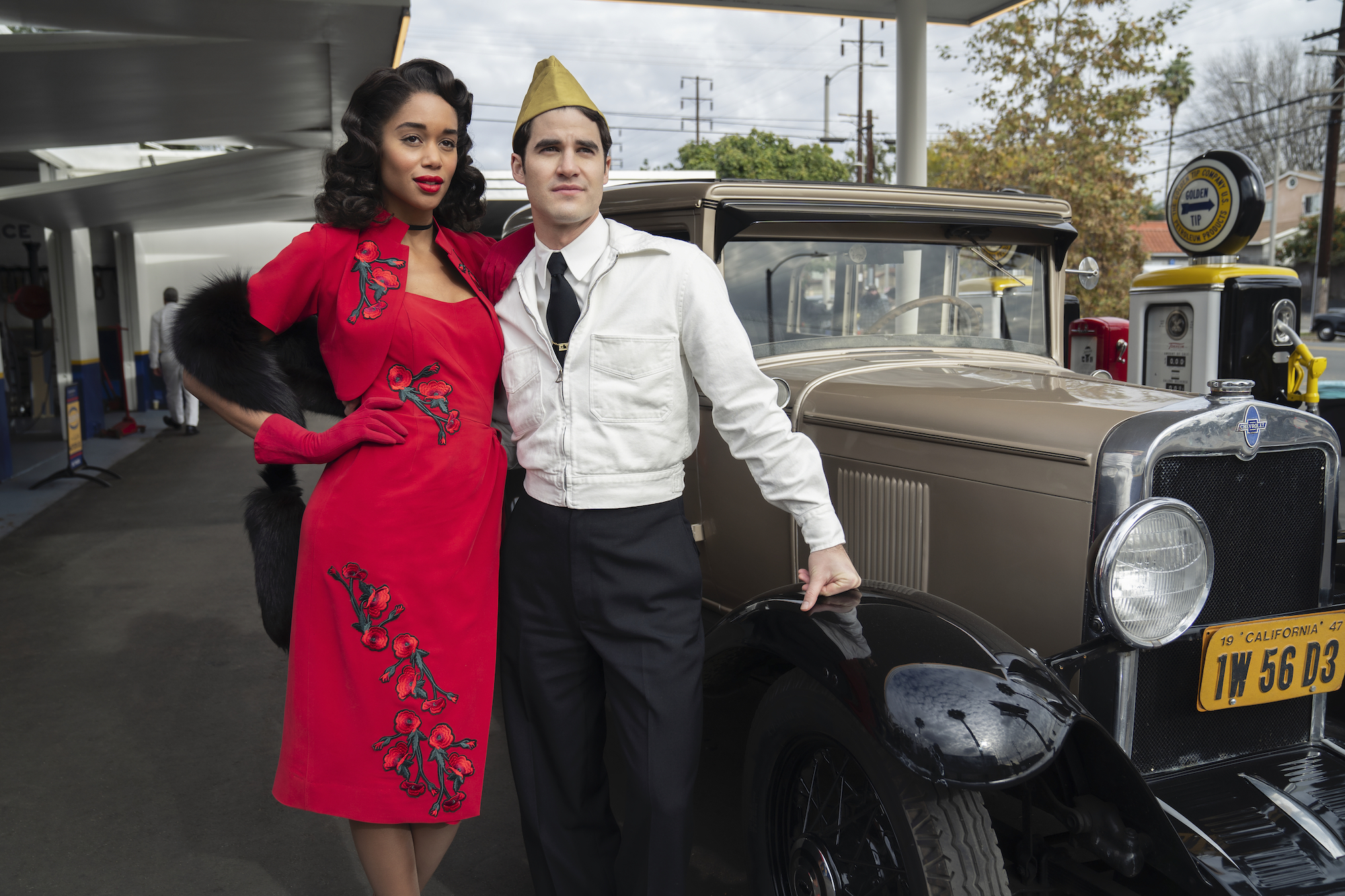 Laura Harrier and Darren Criss in 'Hollywood'