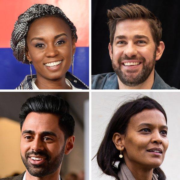 Clockwise from Top Left: Wanuri Kahiu, John Krasinski, Lynn Nottage, Dr. Raj Panjabi, Liya Kebede, Hasan Minhaj