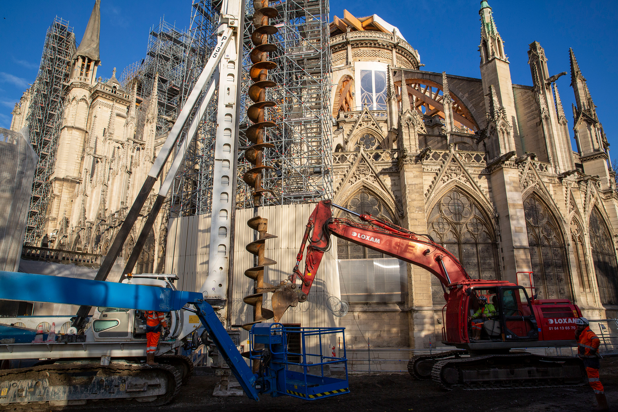 Construction work at the cathedral in December. The disaster offers Notre-Dame's restorers the ability to renew what was degraded long before the fire.
