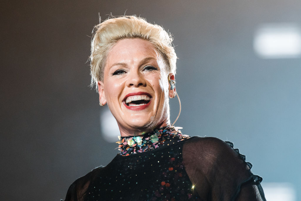P!nk performs live on stage during day 6 of Rock In Rio Music Festival at Cidade do Rock on October 5, 2019 in Rio de Janeiro, Brazil.
