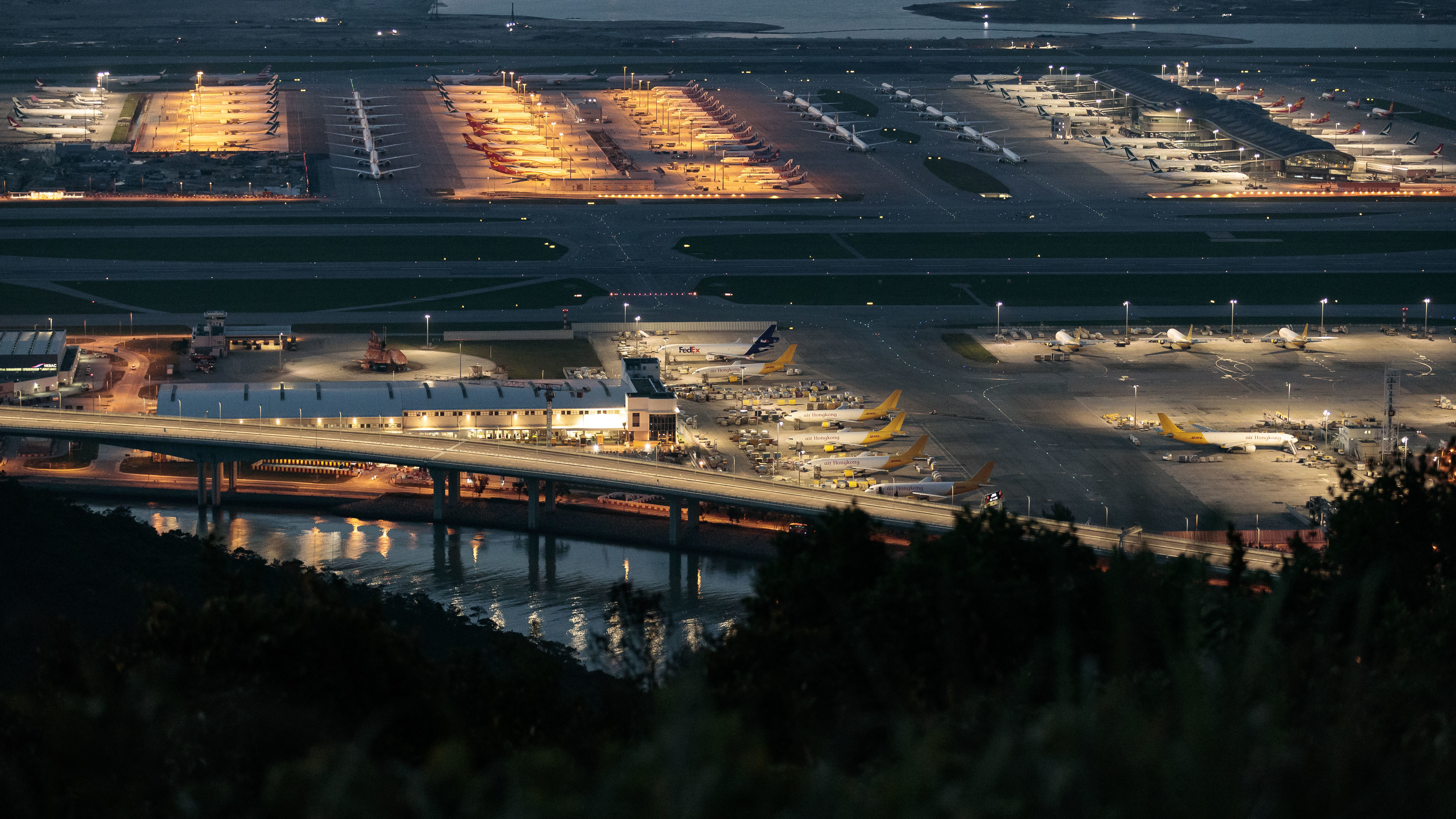 An overview of Hong Kong International airport on April 12, 2020.