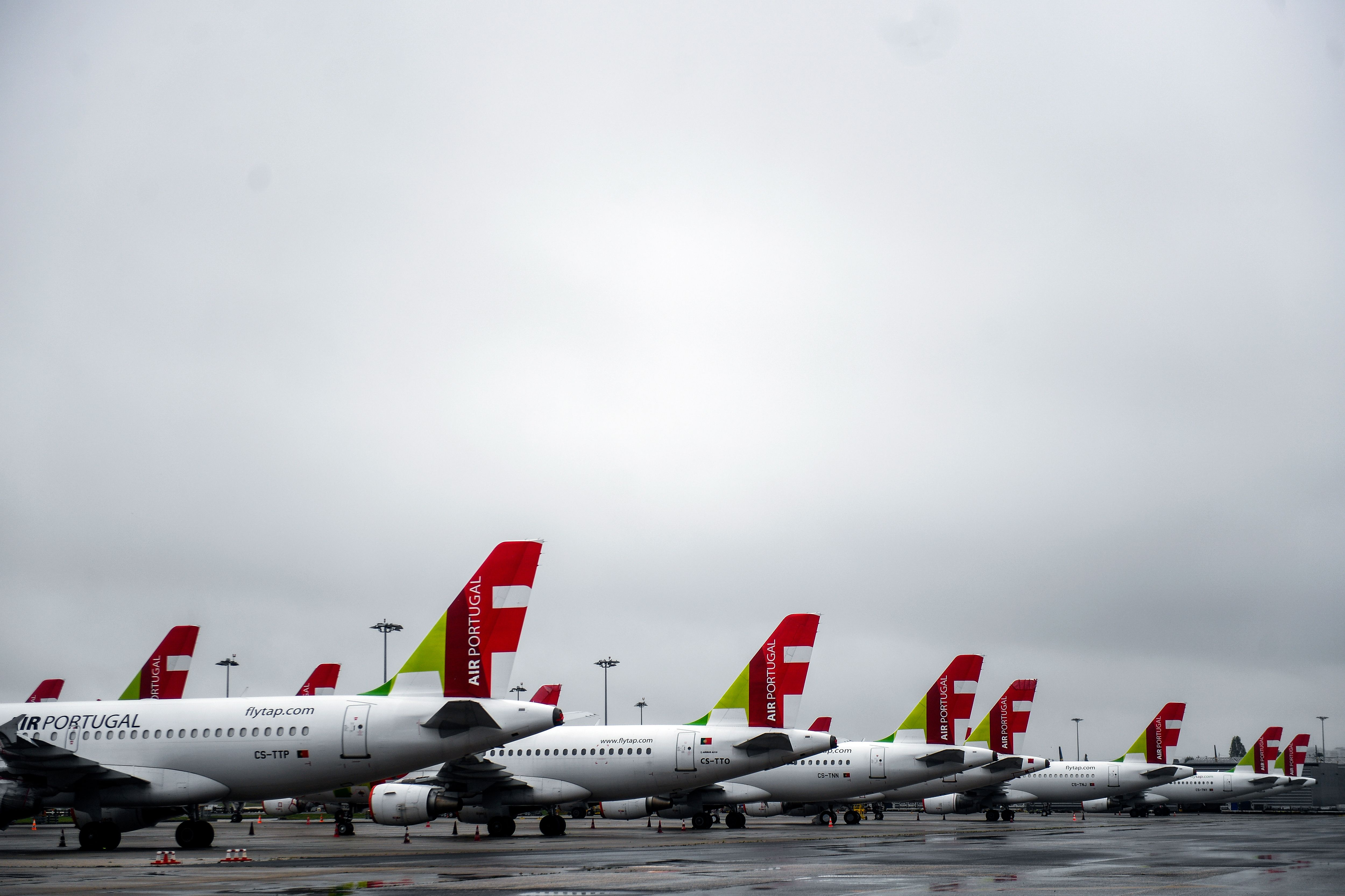 TAP airline planes on the tarmac of the Humberto Delgado airport in Lisbon on April 9, 2020.