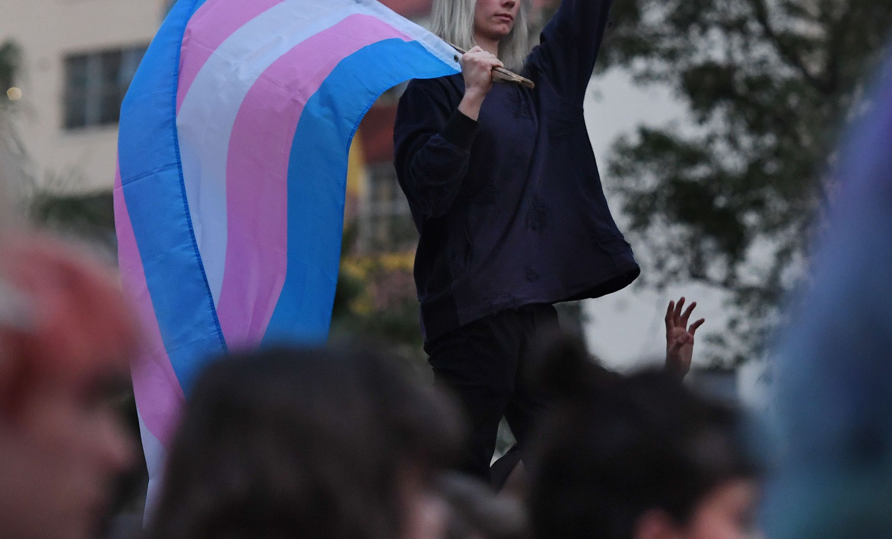 Members of the transgender community and their supporters hold a rally and march in Los Angeles, California on Nov. 2, 2018.