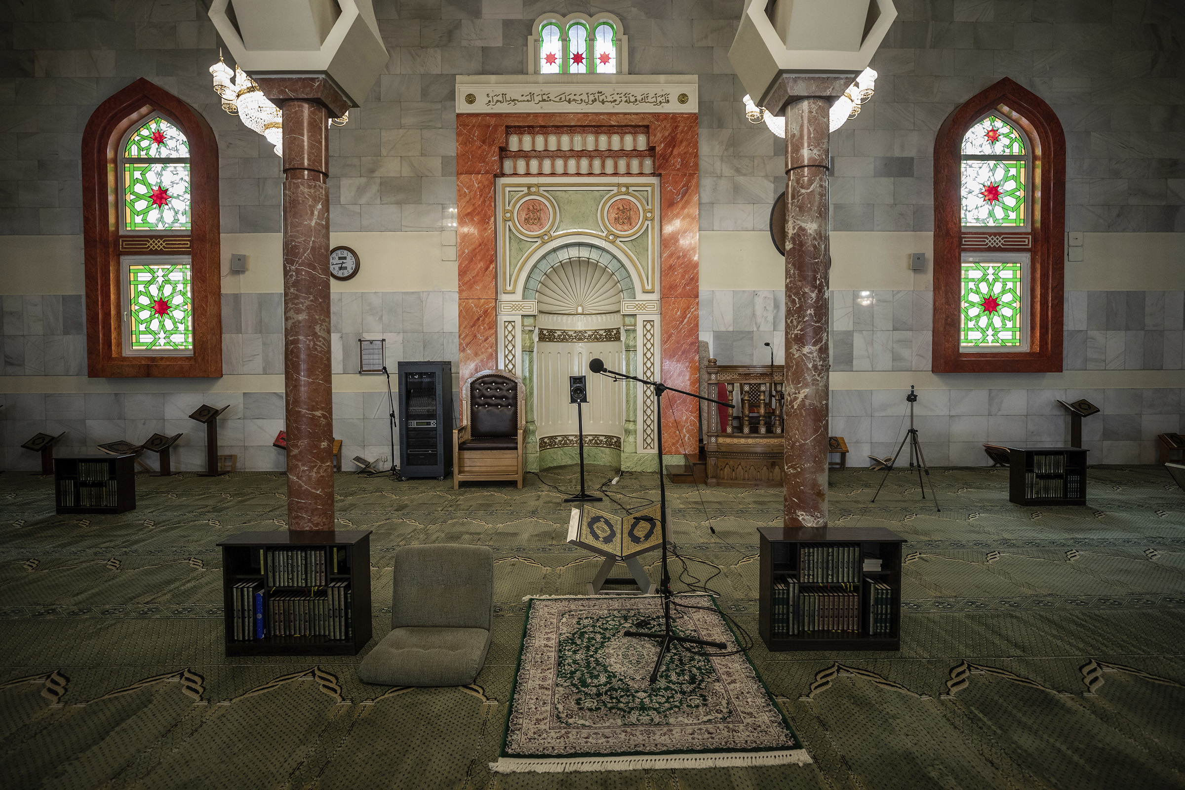 View of the prayer area of the Islamic Cultural Center and Mosque, empty due to social distancing guidelines in Madrid, Spain, on April 23, 2020.