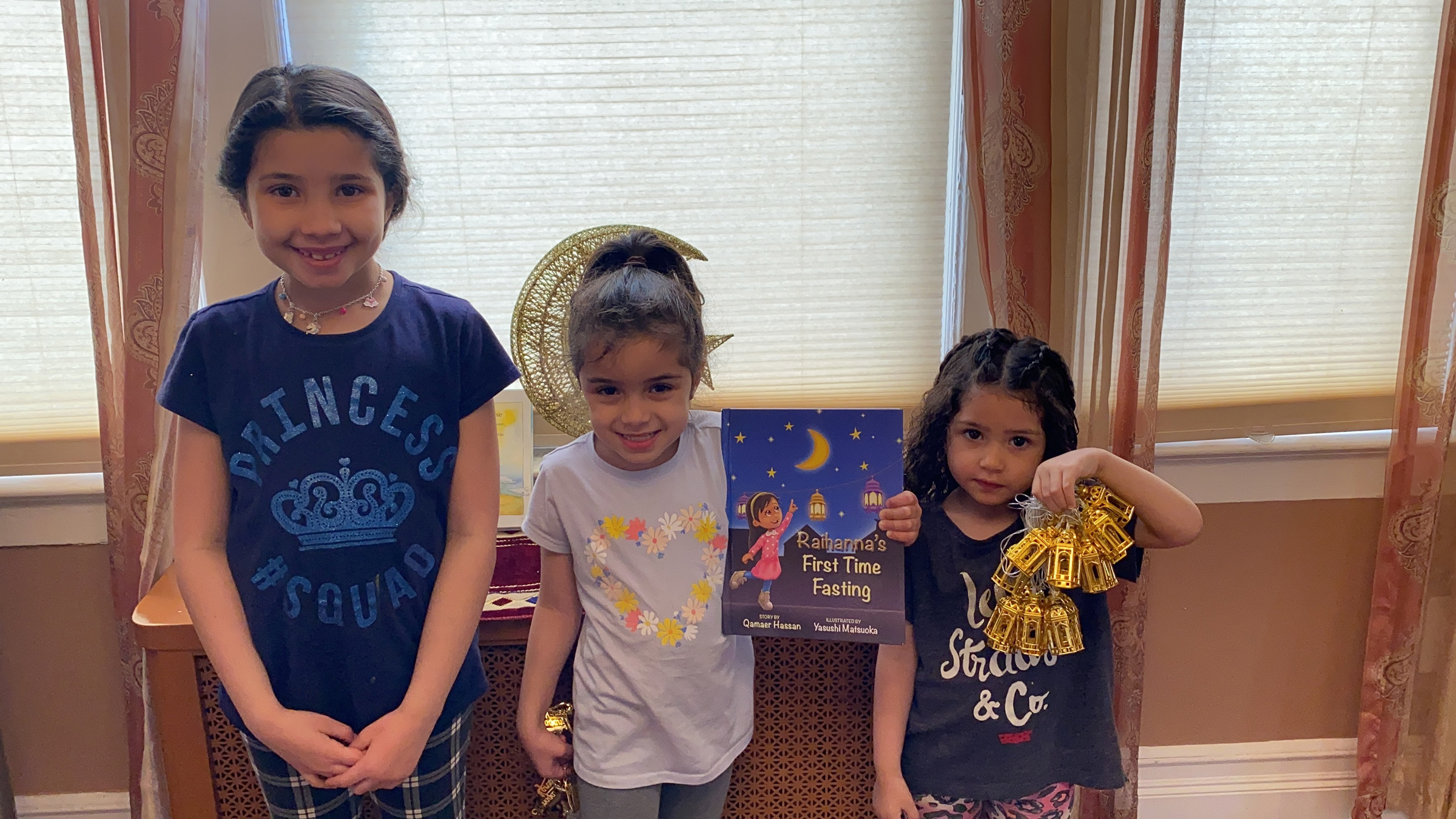 Emily, Leena and Elaina Mejahed decorating their home in preparation for the Holy month of Ramadan, on April 22, 2020.