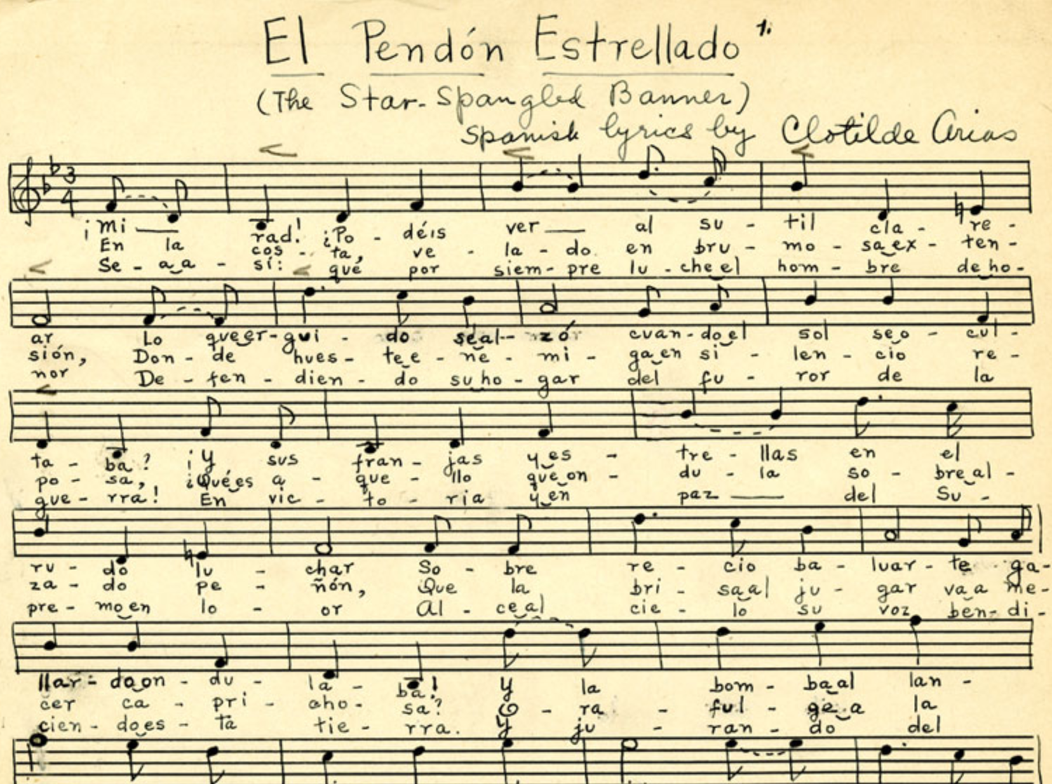 Sheet music for Clotilde Arias's translation of the  Star-Spangled Banner.