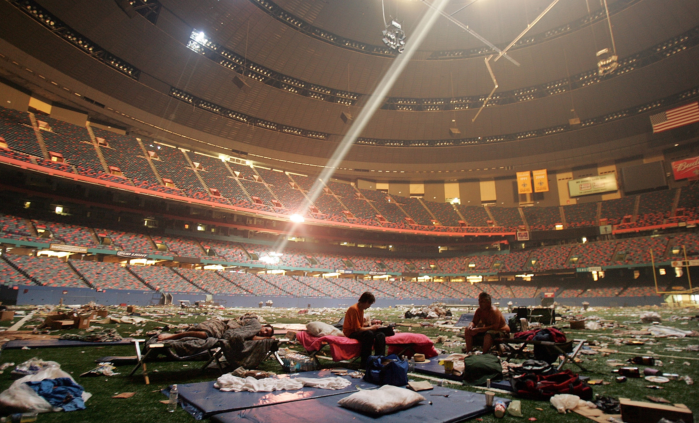 Stranded victims of Hurricane Katrina rest inside the Superdome on Sept. 2, 2005 in New Orleans.