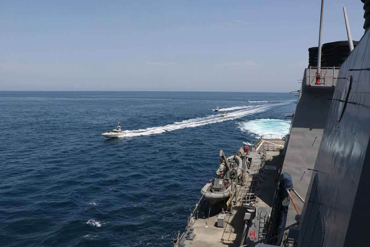 Iranian Islamic Revolutionary Guard Corps Navy vessels cross U.S. Military ships' bows and sterns at close range while operating in the international waters of the North Arabian Gulf on April 15, 2020.