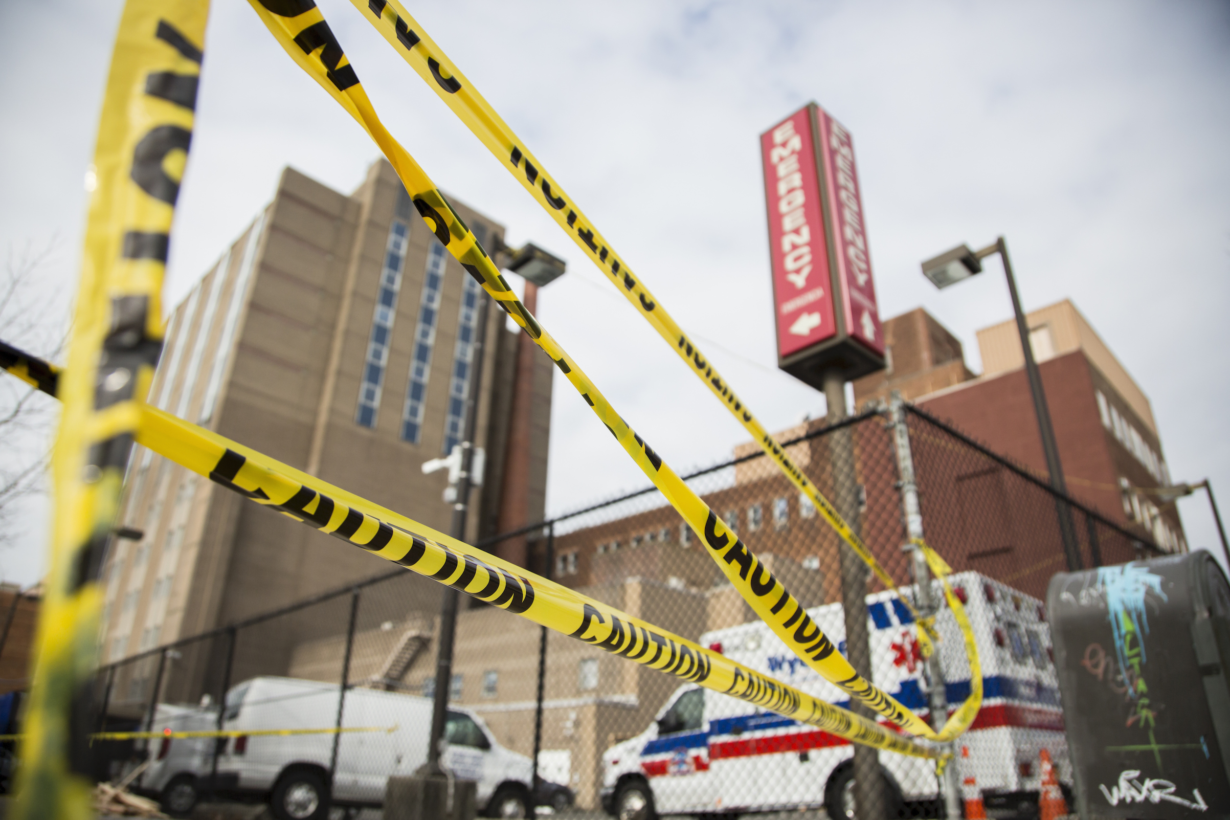 Yellow protective tape is seen next to Wyckoff Heights Medical Center on April 5 in Brooklyn, N.Y.
