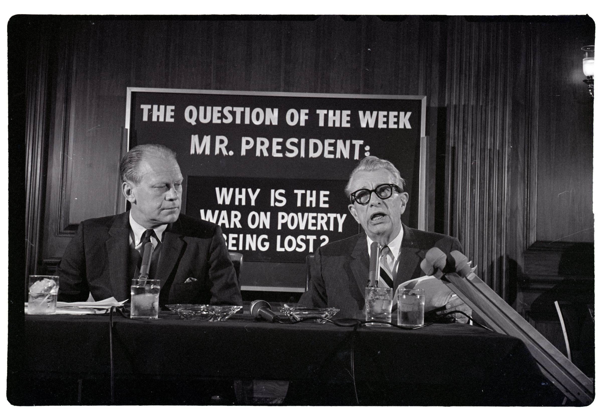 Representative Gerald Ford, (L), and Senator Everett M. Dirksen  speaking about President Johnson's antipoverty plan on June 2, 1966, in Washington, D.C.