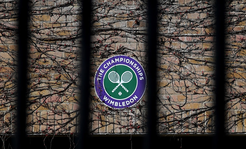 Wimbledon branding is seen at The All England Tennis and Croquet Club, best known as the venue for the Wimbledon Tennis Championships, on April 01, 2020 in London, England.
