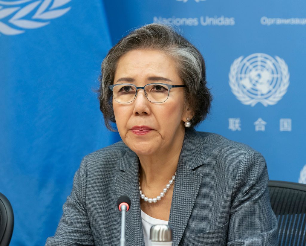 Yanghee Lee, the Special Rapporteur on the situation of human rights in Myanmar, gives a press briefing at U.N. Headquarters in New York City on Oct. 23, 2019.
