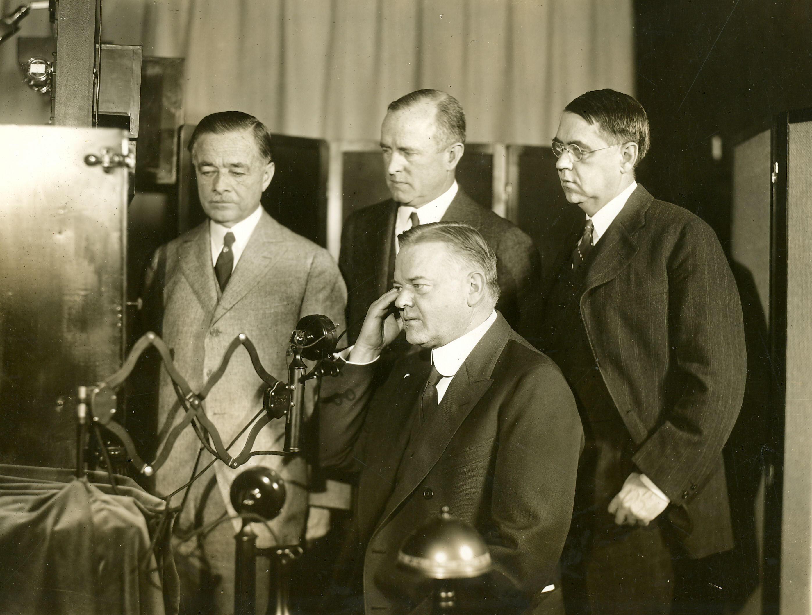 The first Public one-way TV Demo call, with Herbert Hoover in Washington, D.C.