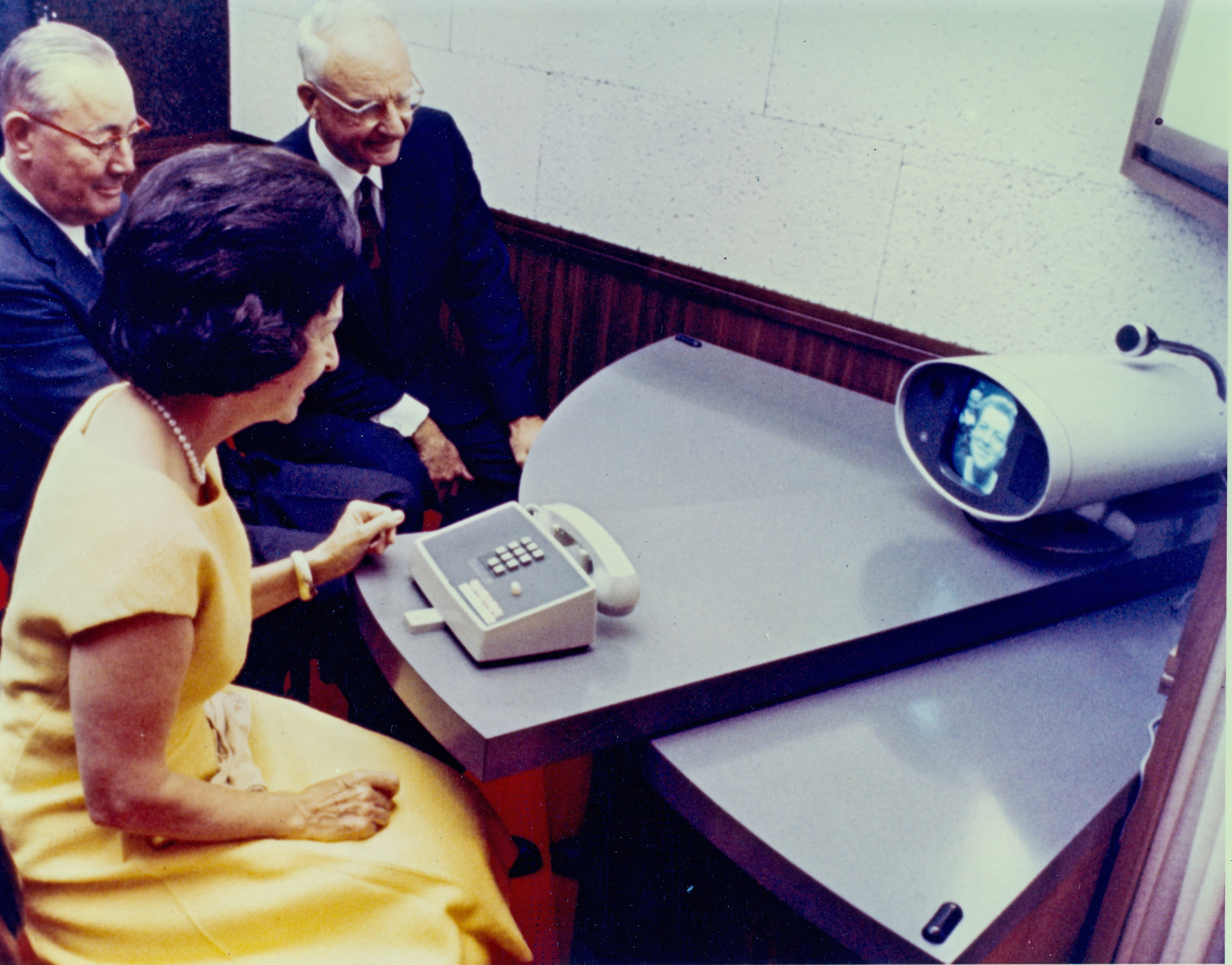 Lady Bird Johnson at the Picturephone booth in Washington, D.C., in 1964
