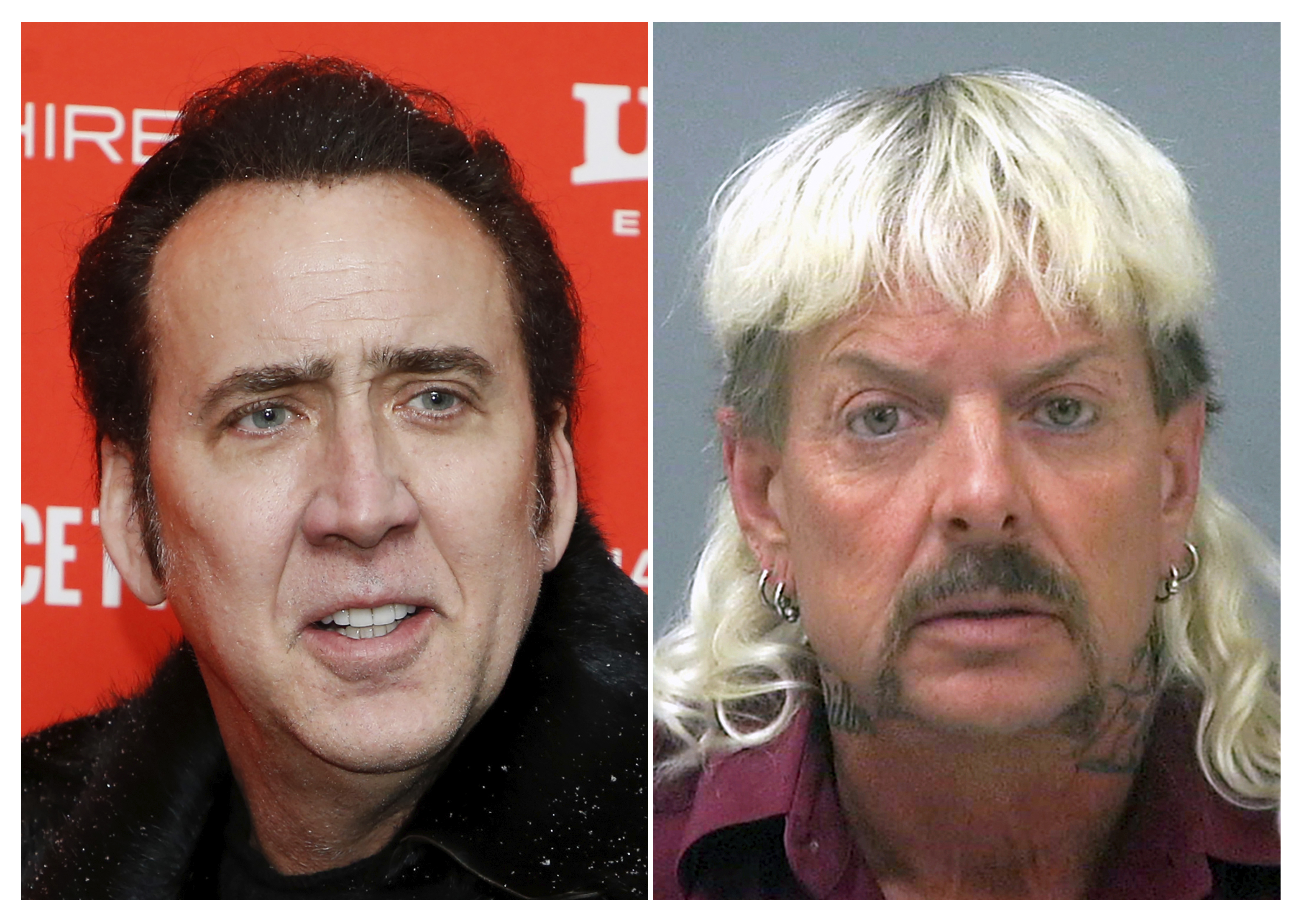 This combination photo shows actor Nicolas Cage at the premiere of  Mandy  during the 2018 Sundance Film Festival in Park City, Utah. on Jan. 19, 2018, left, and a booking mug of provided by the Santa Rosa County Jail in Milton, Fla., shows Joseph Maldonado-Passage, also known as  Joe Exotic.