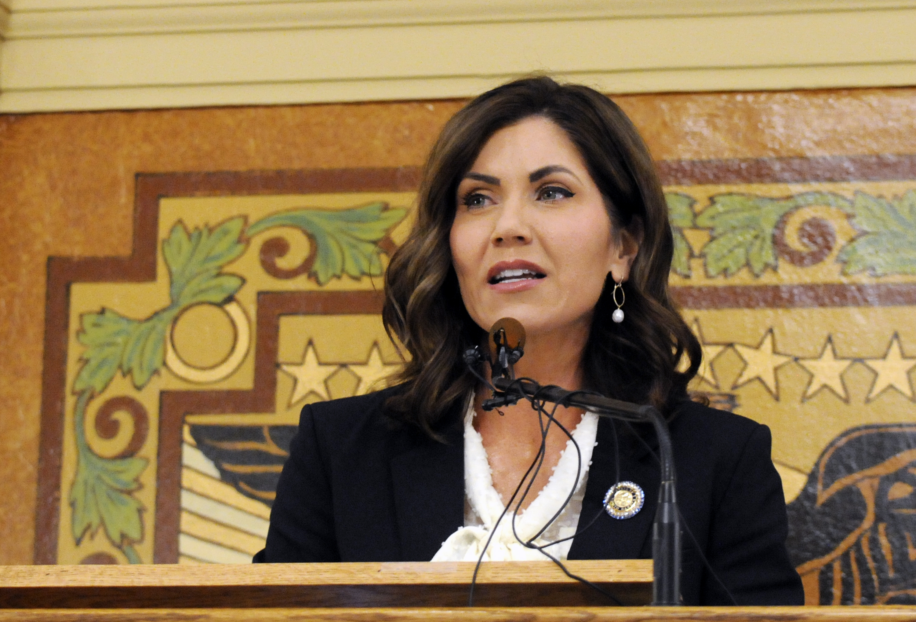 South Dakota Gov. Kristi Noem gives her first State of the State address in Pierre, S.D., on Jan. 8, 2019.