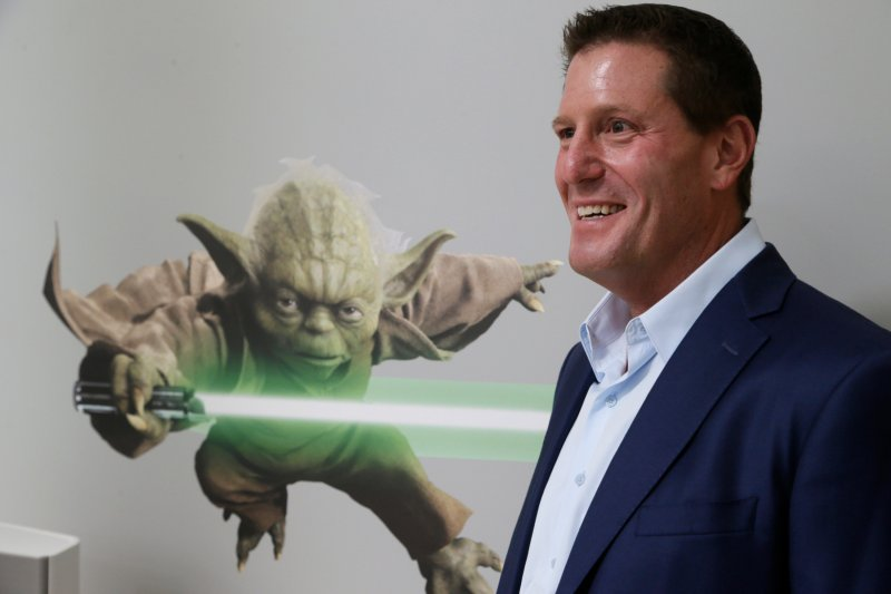 Disney chief strategy officer Kevin Mayer visits the company's  accelerator  space in Glendale, Calif., on July 13, 205.