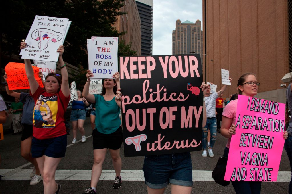 Pro-Choice protesters march through the streets of Birmingham, Alabama, during the March For Reproductive Freedom on May 19, 2019. A reproductive rights non-profit organization in Alabama has purchased an abortion clinic, to make sure women in the state still have access to reproductive healthcare services.