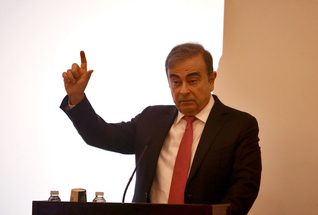 Former Nissan chief Carlos Ghosn speaks at a press conference in Beirut, Lebanon, Jan. 8, 2020. Carlos Ghosn denied on Wednesday all accusations brought against him by Nissan, adding that he will fight until the end to prove his innocence, local TV channel MTV reported.