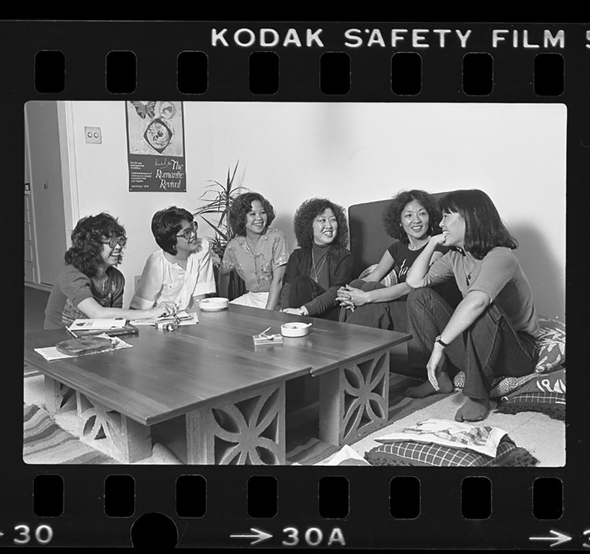 Members of Pacific Asian American Women Writers West, from left, Momoko Iko, Joyce Nako, Karen Saito, Miya Iwataki, Emma Gee and Diane Takei, meeting in Los Angeles in 1980