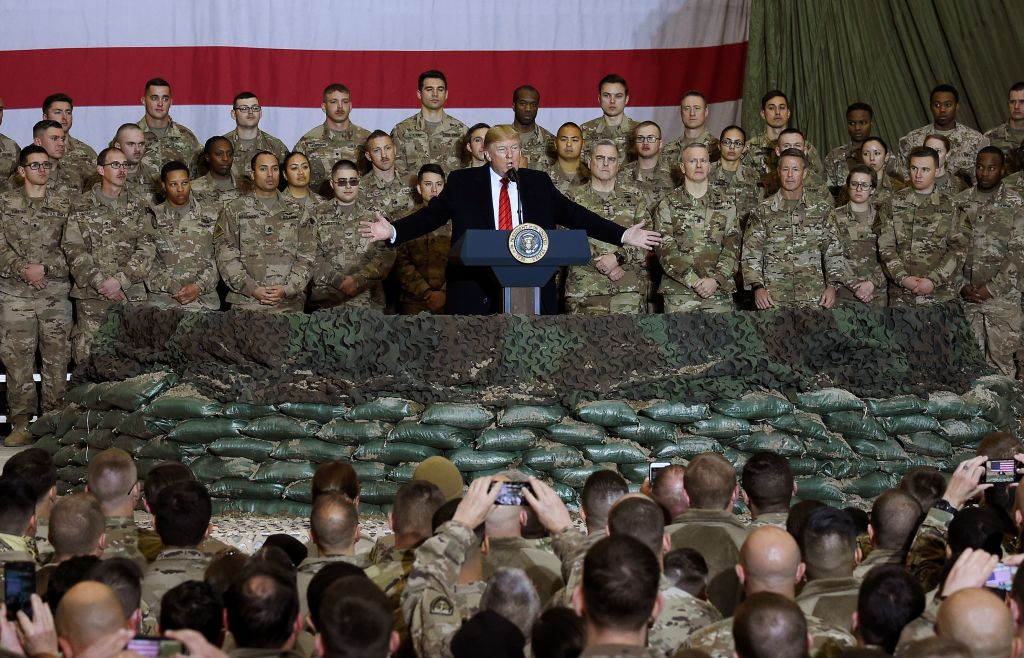 President Donald Trump speaks to the troops during a surprise Thanksgiving day visit at Bagram Air Field in Afghanistan on November 28, 2019.