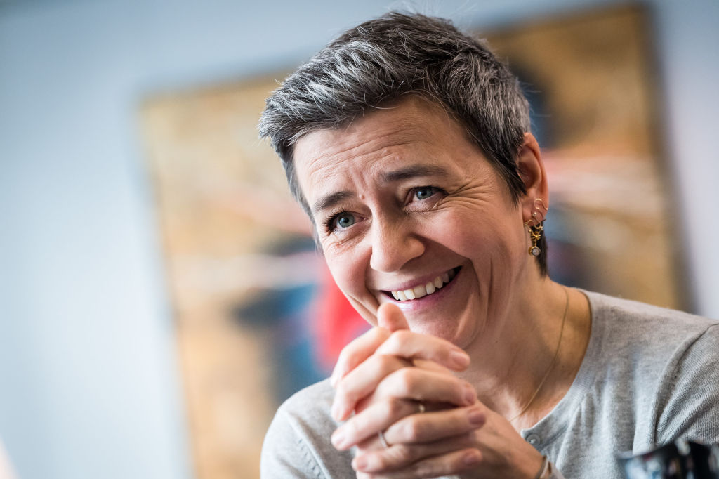 Margrethe Vestager, competition commissioner of the European Commission, reacts during an interview in her office in Brussels, Belgium, on Tuesday, Feb. 25, 2020