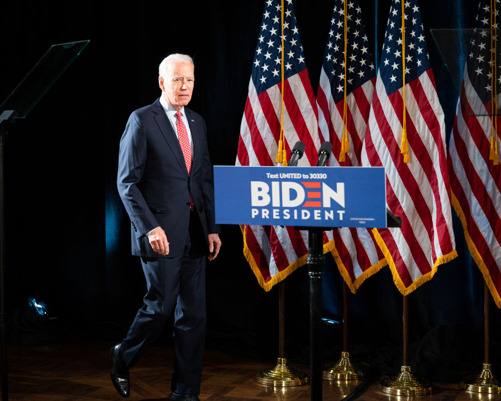 Former Vice President Joe Biden speaks about the Coronavirus and the response to it at the Hotel Du Pont in Wilmington, DE, on March 12, 2020