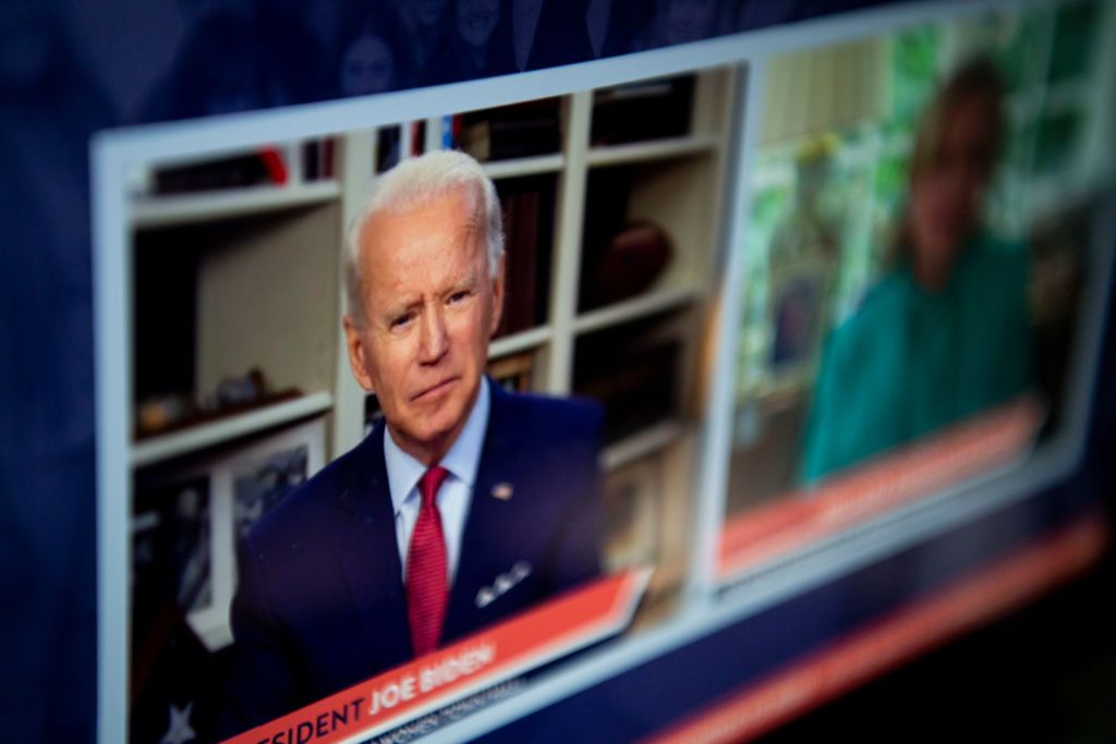 Former Vice President Joe Biden speaks with Hillary Clinton during The Impact of COVID-19 on Women virtual town hall event as seen livestreaming on a laptop in Washington, D.C. on April 28, 2020.