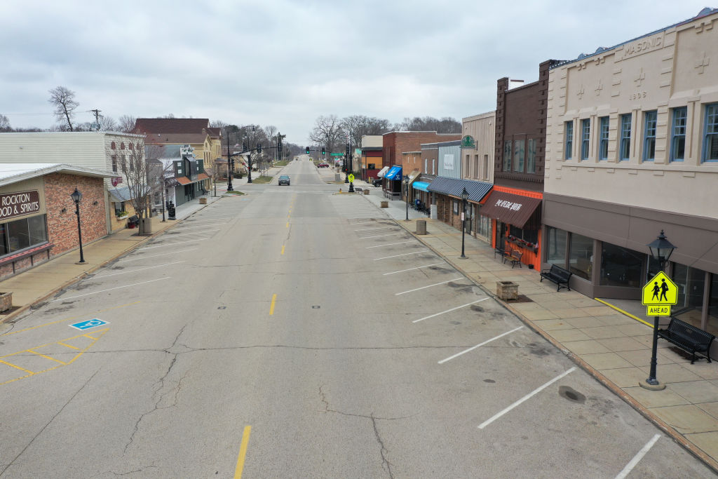 Small businesses that line the business district remain closed after the governor instituted a shelter-in-place order in an attempt to curtail the spread of COVID-19 in Rockton, Illinois, on March 24, 2020.