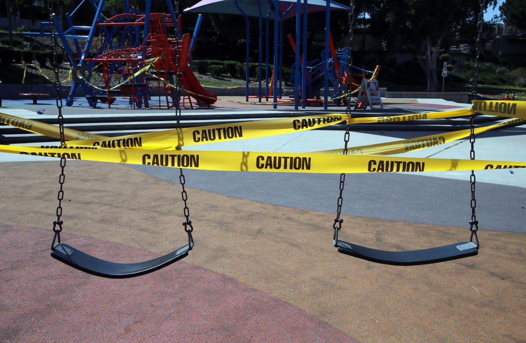 A playground is closed at Pan Pacific Park during the coronavirus pandemic in Los Angeles, California, on May 03, 2020.