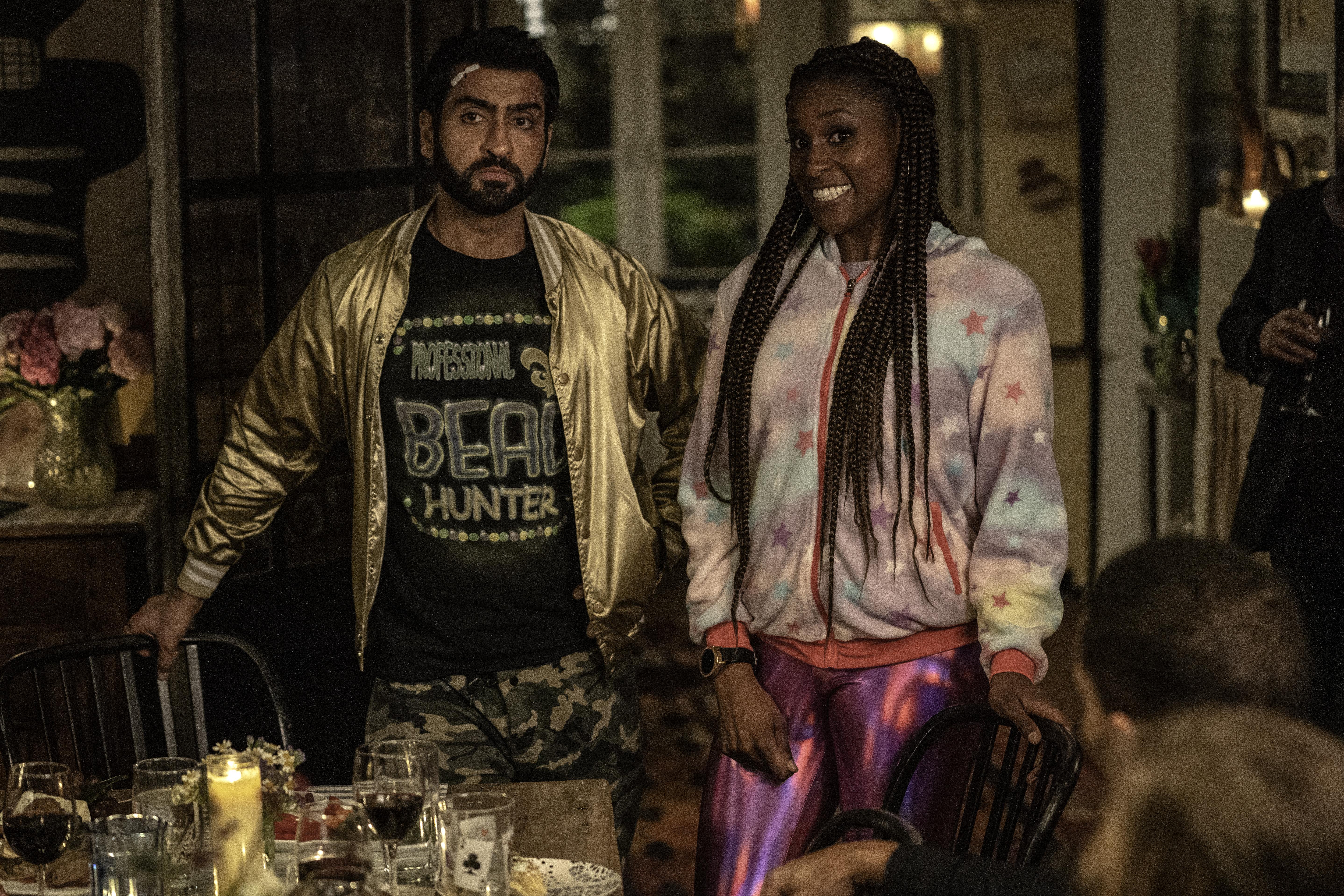 Kumail Nanjiana and Issa Rae in 'The Lovebirds' on Netflix.
