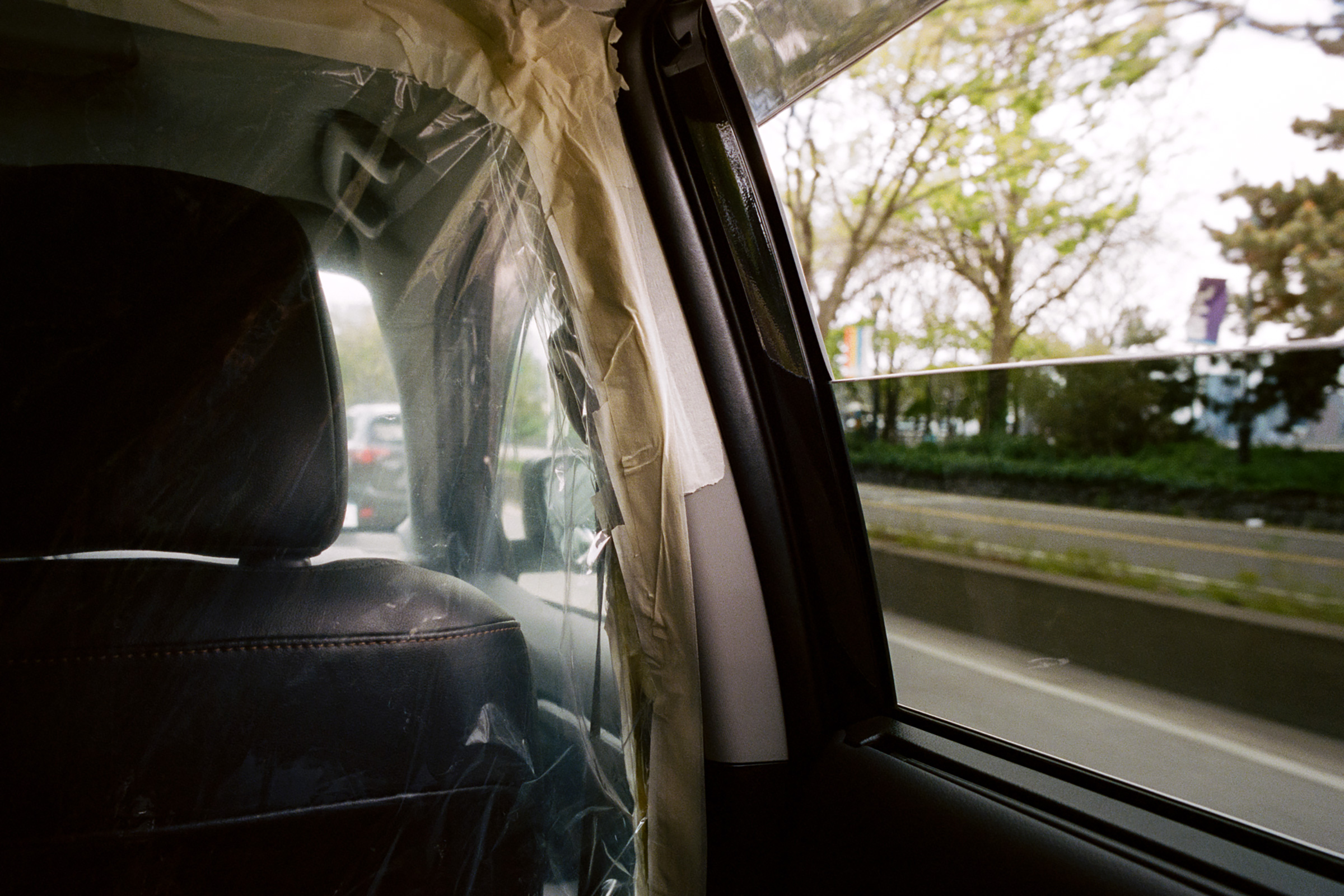 A handmade plastic partition in an Uber in New York City on May 2.