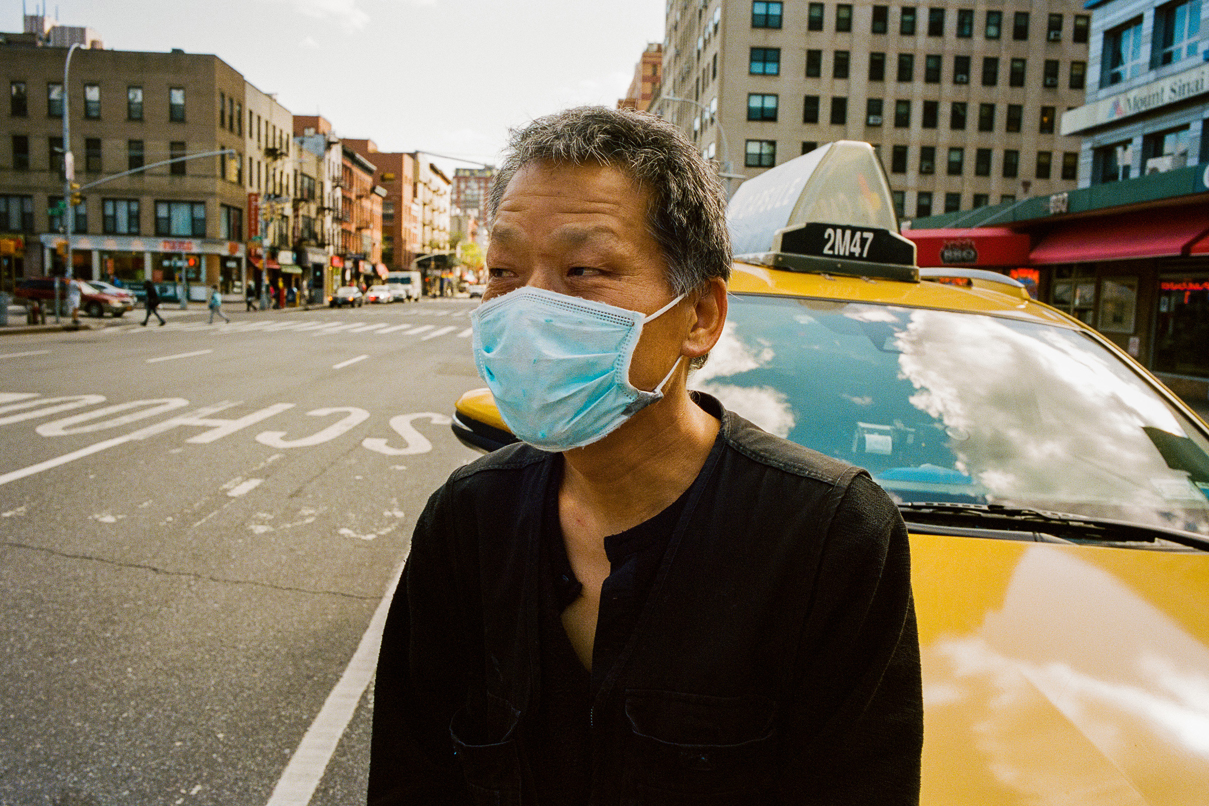 "Kim Jaemin, 58, is a taxi driver in Manhattan. Business has plummeted, and so has the civility of the customers who enter his cab. ""We face a lot of crazy, racist people,"" says the South Korean driver."