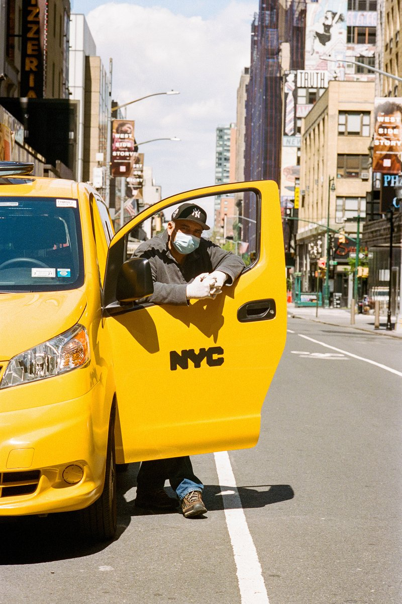 """Mohamed Eleissawy, 63, Taxi Driver, Manhattan. The father of three has been a taxi driver for about 30 years. He's gone from working five days a week to three since the lockdown started, often only giving four or five rides a day. After every stop, he wipes down the seat belts, doors and credit-card machine. """"I love Manhattan, but I feel bad for Manhattan,"""" he says."""