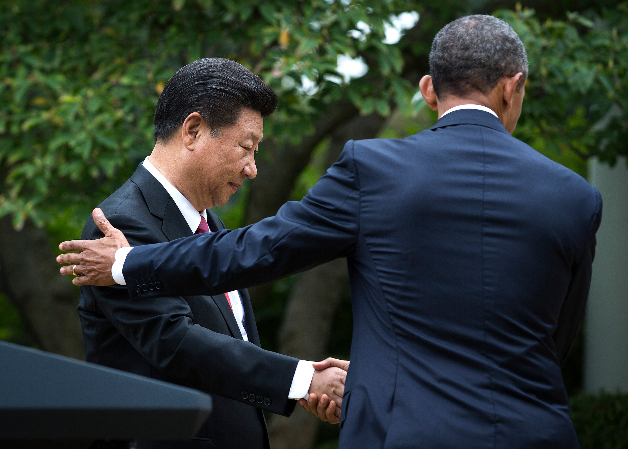 President Barack Obama and Chinese President Xi Jinping at a joint news conference in the Rose Garden at the White House, in Washington, on Sept. 25, 2015.