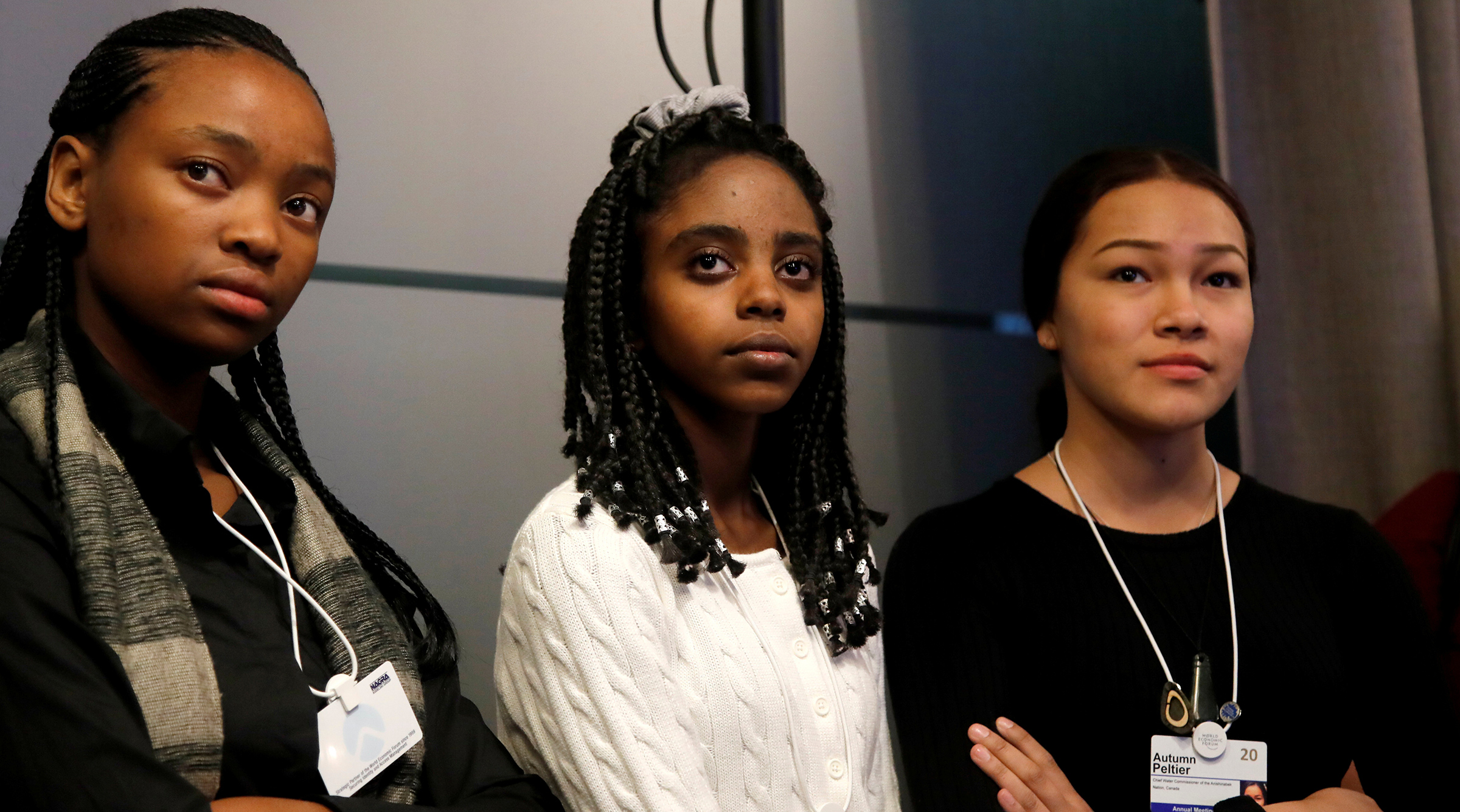 Naomi Wadler, center, takes part in a forum with Ayakha Melithafa and Autumn Peltier during the World Economic Forum in Davos, Switzerland Jan. 20, 2020.