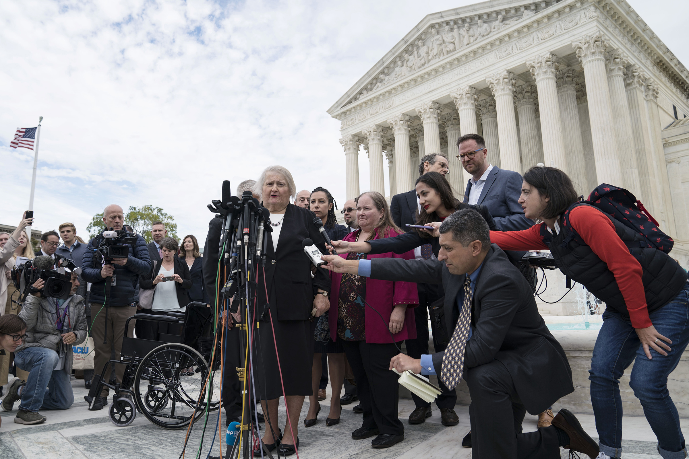 Aimee Stephens speaks outside of the Supreme Court in Washington, D.C., on Oct. 8, 2019.