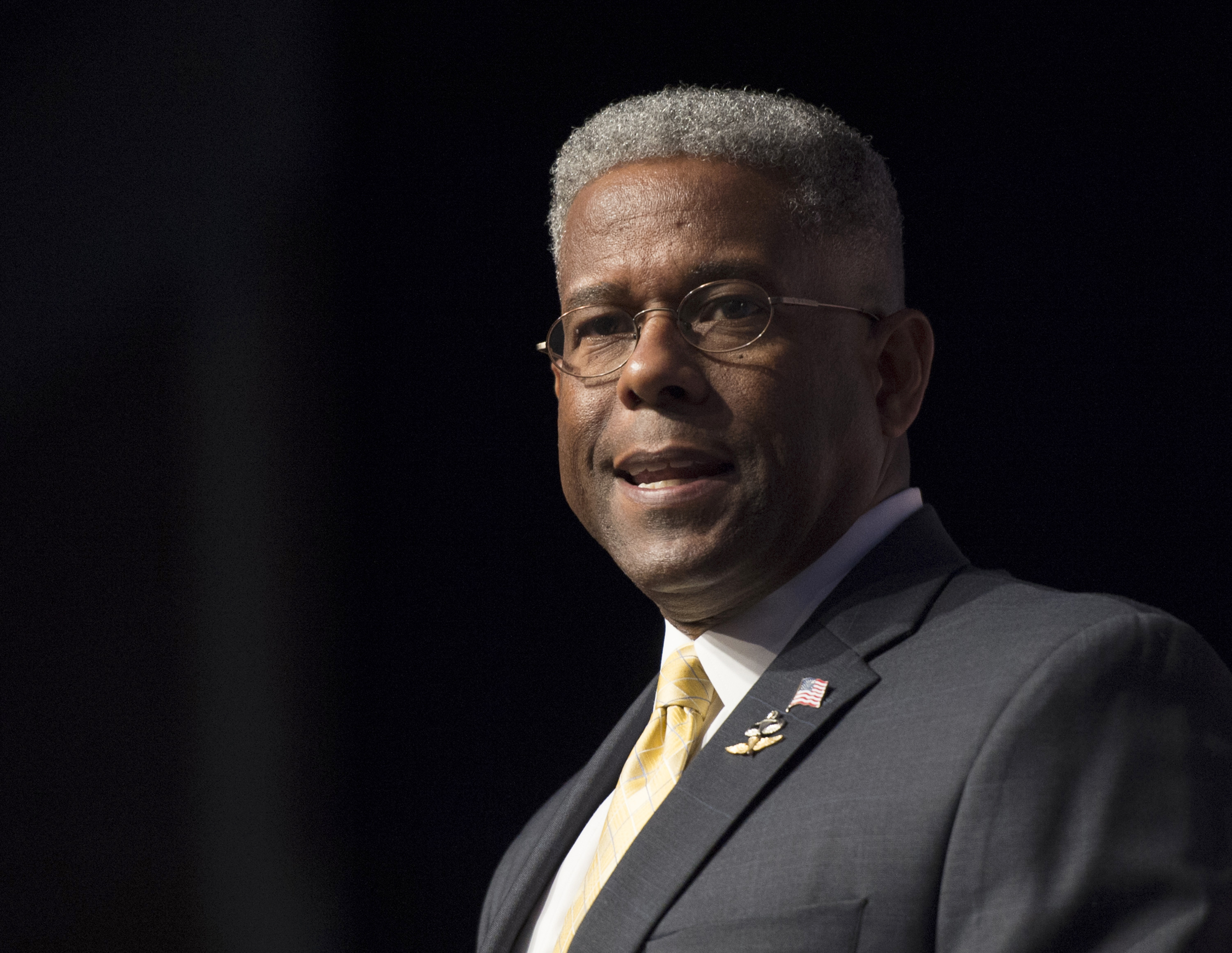 In this Thursday, June 19, 2014, file photo, former congressman and retired Lt. Col. Allen West speaks during Faith and Freedom Coalition's Road to Majority event in Washington. West was injured in a motorcycle crash Saturday, May 23, 2020, in Texas.