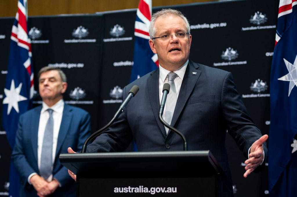 Australian Prime Minister Scott Morrison speaks at a press conference on May 01, 2020 at Parliament House in Canberra, Australia.