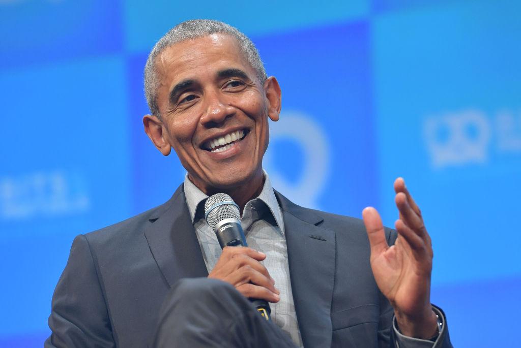 Former U.S. President Barack Obama speaks at the opening of the Bits & Pretzels meetup on September 29, 2019 in Munich, Germany.
