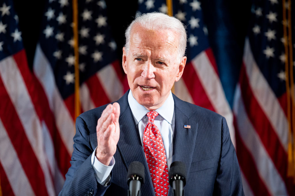 Former Vice President Joe Biden speaks about the coronavirus and the response to it at the Hotel Du Pont in Wilmington, Del., on March 12, 2020.