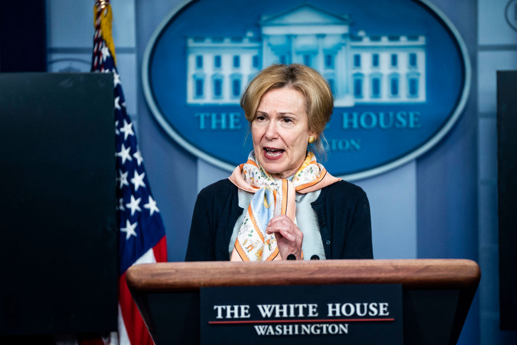 Dr. Deborah Birx, White House coronavirus response coordinator, speaks with President Donald J. Trump and members of the coronavirus task force during a briefing in response to the COVID-19 pandemic at the White House on April 23, 2020 in Washington, DC.