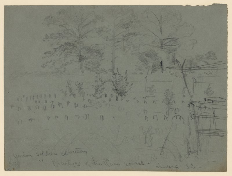 An Alfred Waud illustration of the.Union soldiers cemetery known as Martyrs of the Race course in Charleston, S.C.