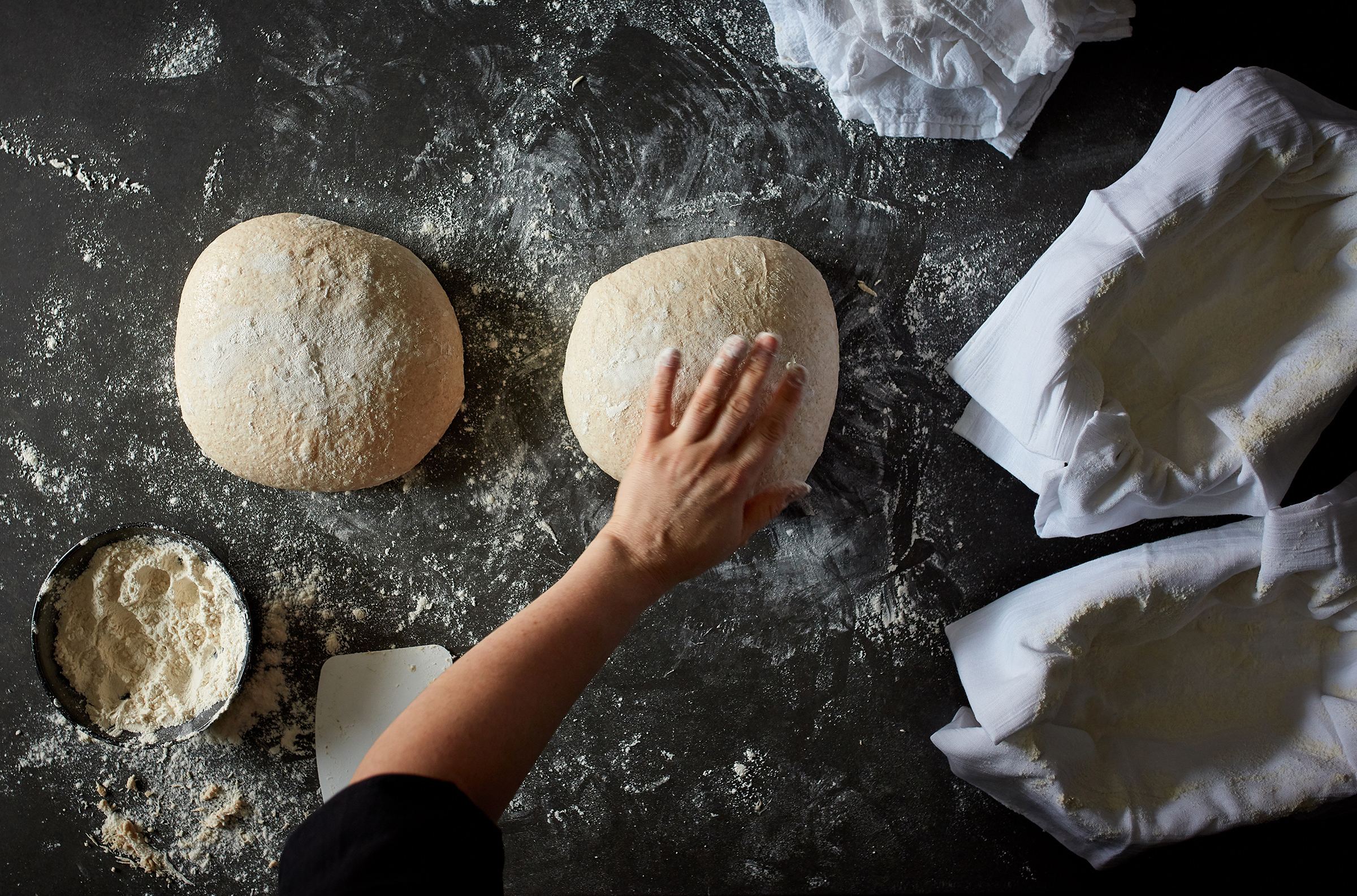 Dough is shaped for sourdough bread in New York, on Sept. 10, 2019.