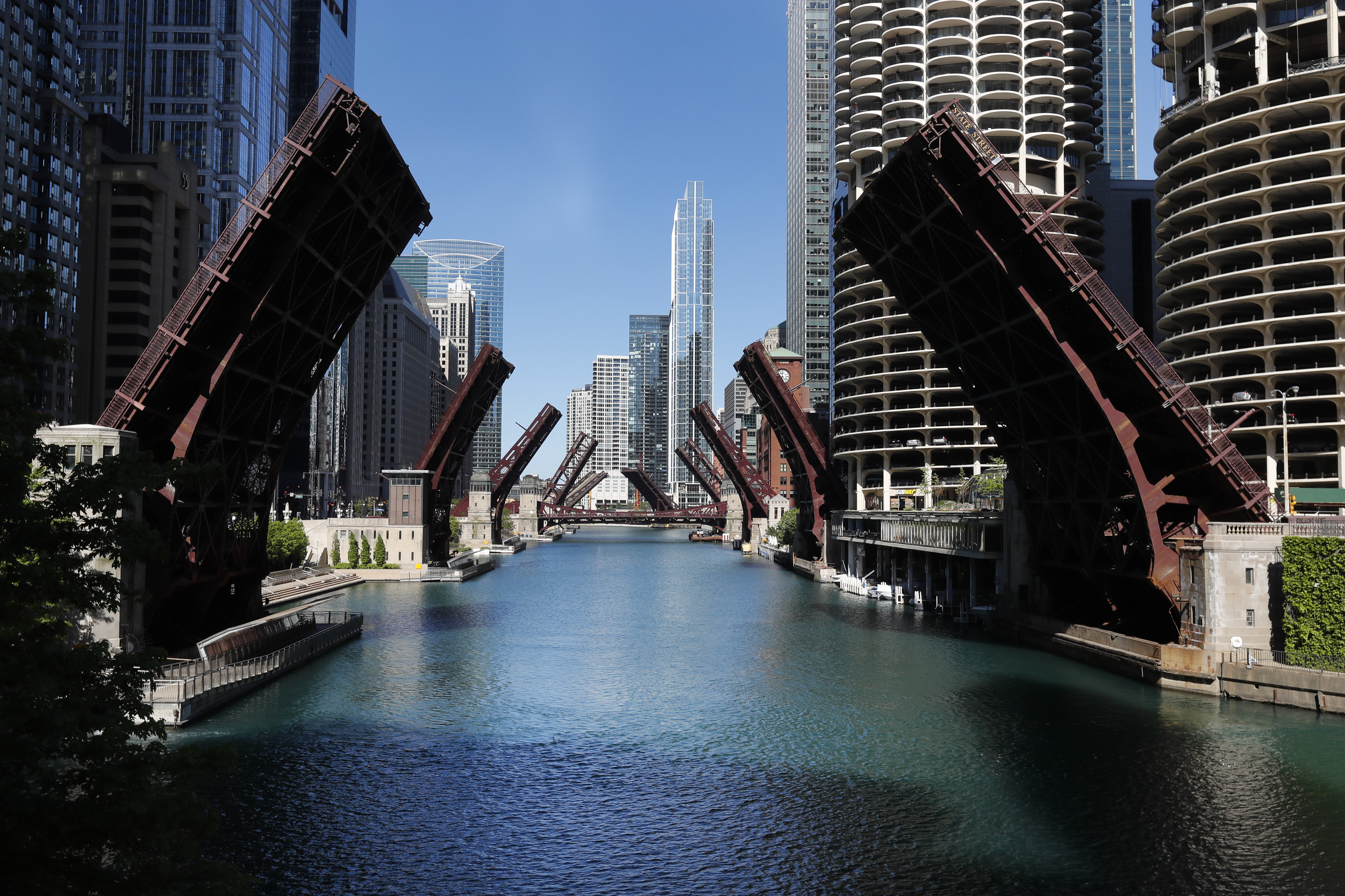 Several street bridges over the Chicago River remain closed May 31, 2020 in Chicago.