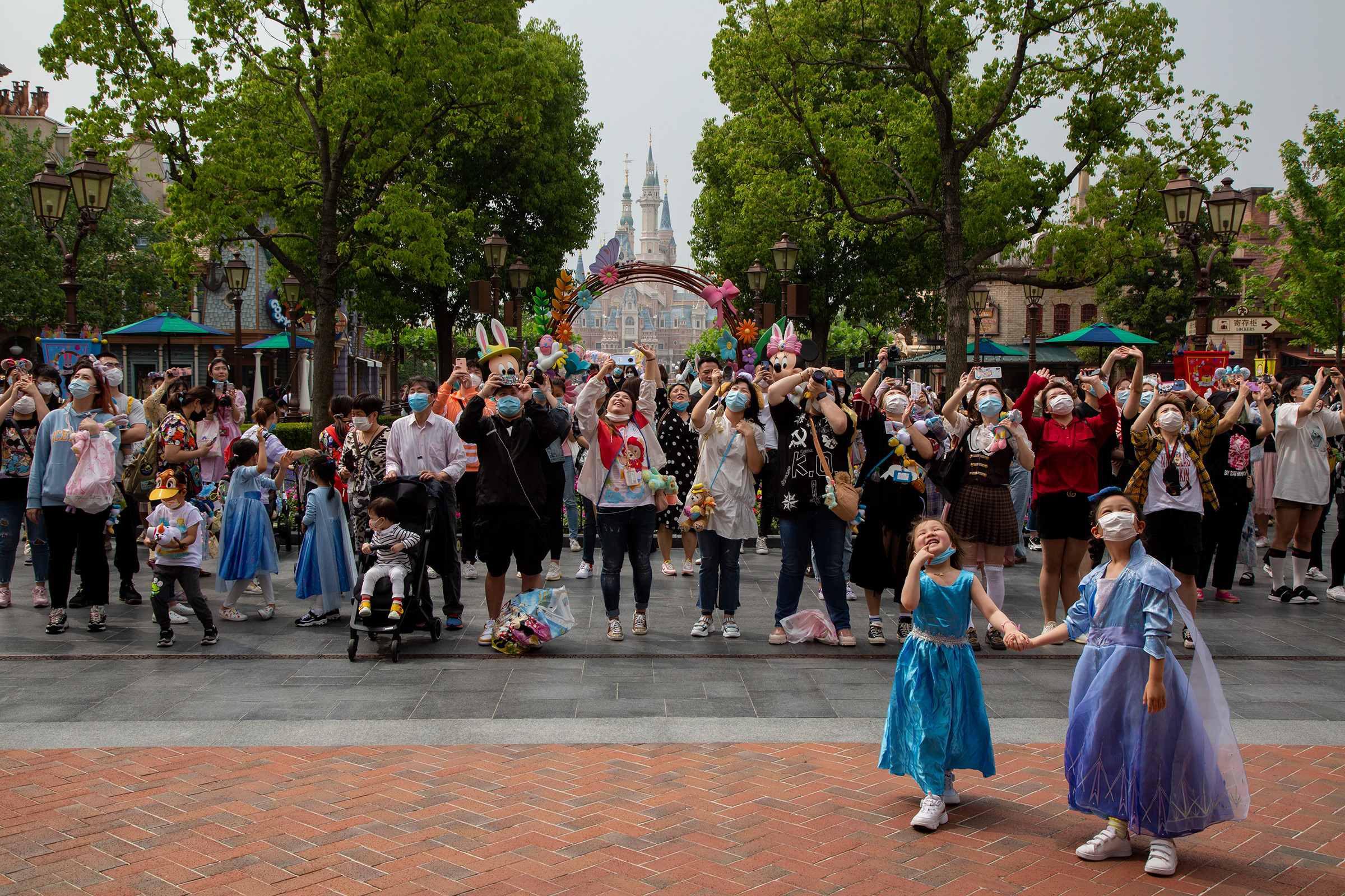 Visitors inside Shanghai Disneyland on May 11, the day it reopened