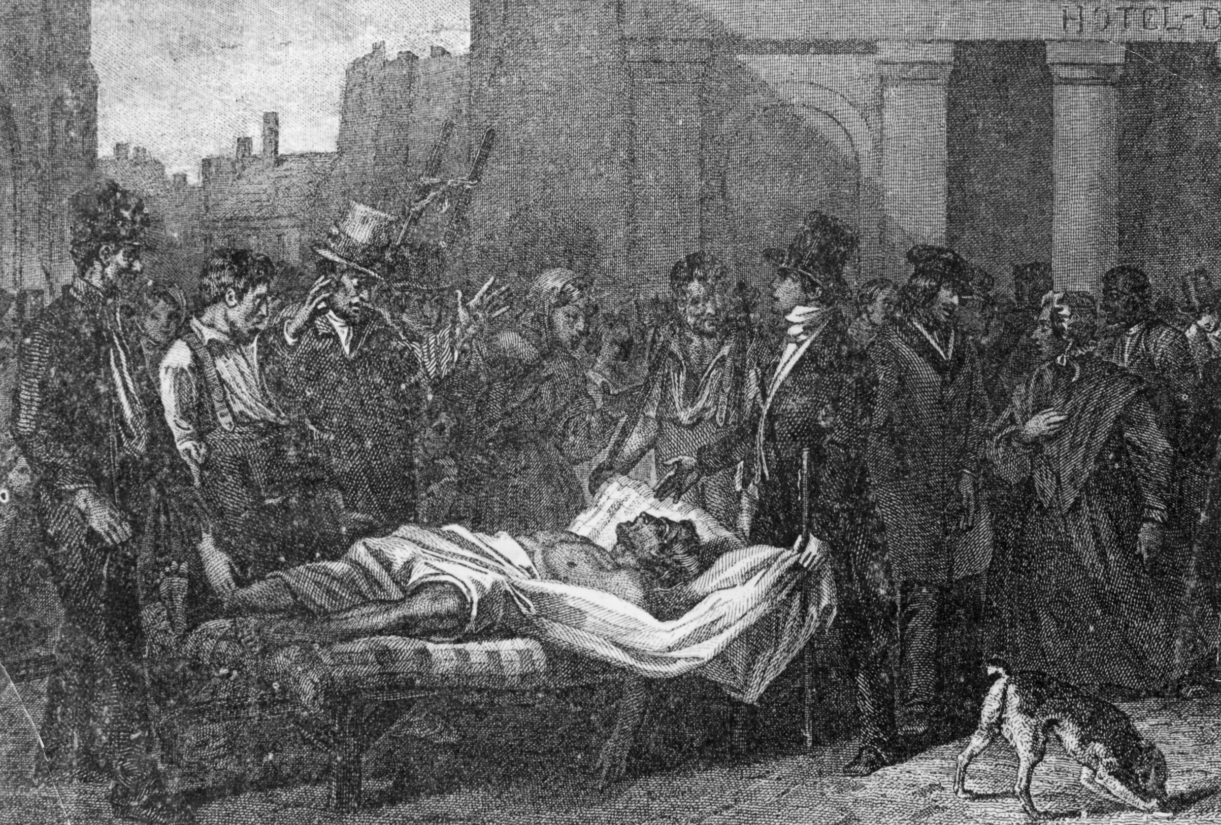A victim of the cholera epidemic in Paris, 1832.