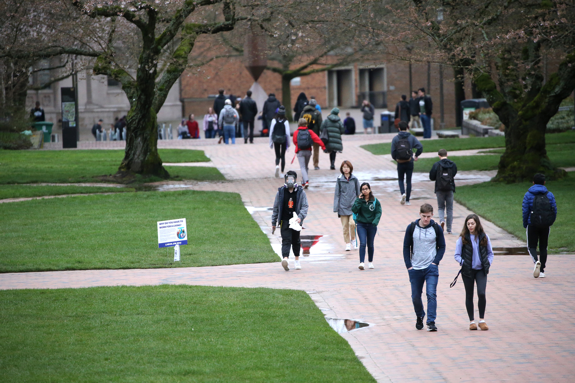 Students at the  University of Washington on campus for the last day of in-person classes on March 6, 2020 in Seattle, Washington.