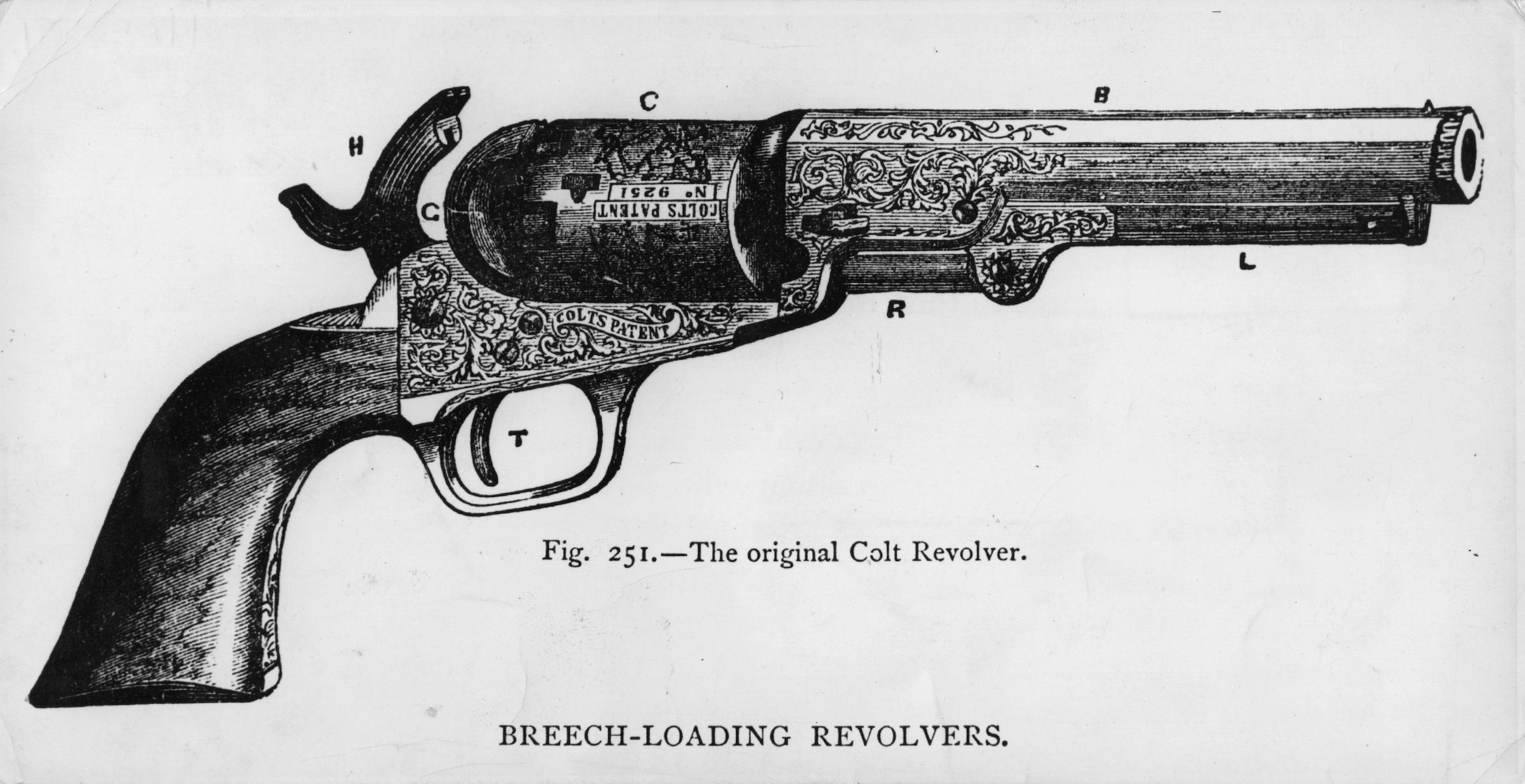 circa 1835:  The original Colt revolver, as patented by Colonel Samuel Colt.